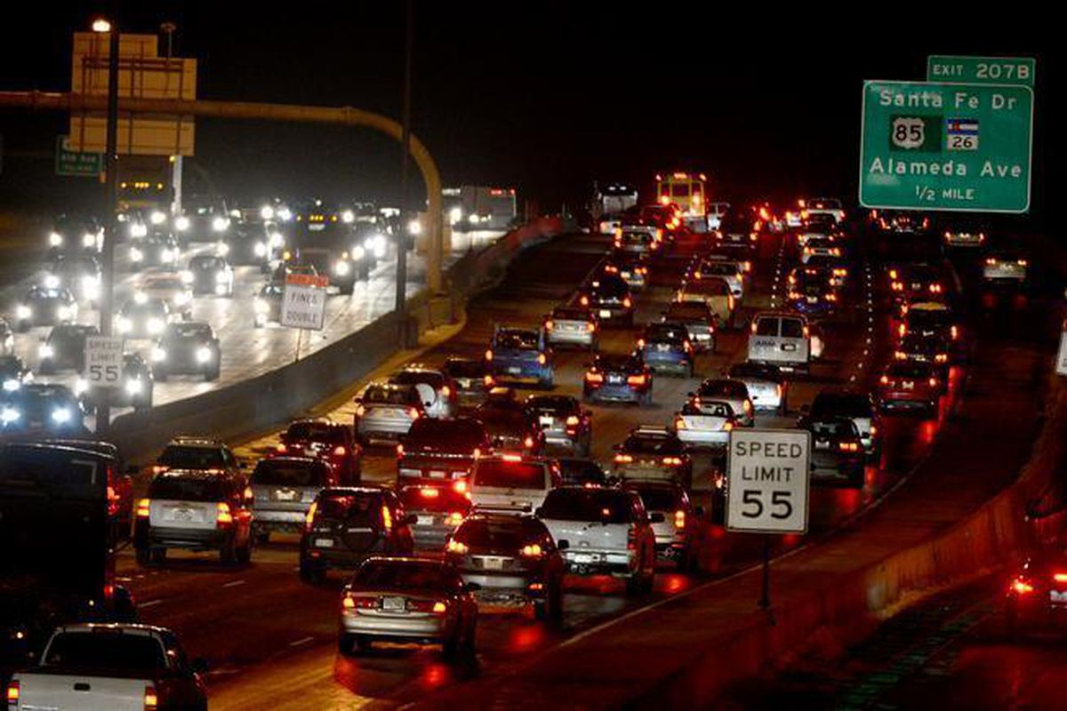Traffic bunches up in both directions at I-25 and Alameda in Denver.