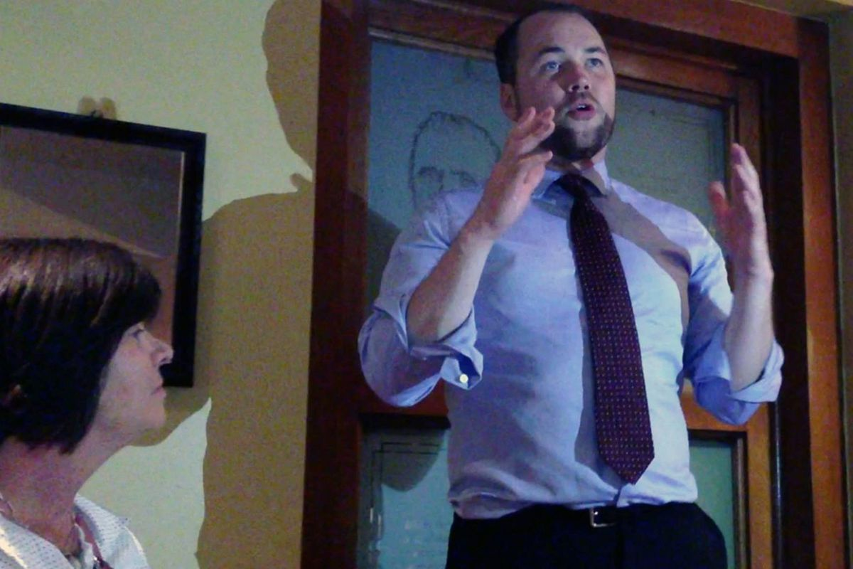 Corey Johnson gives victory speech as his mom looks on