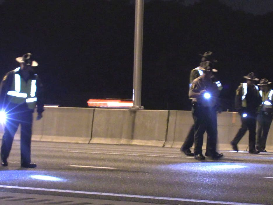 Police investigate a shooting about 4:30 a.m. Saturday, October 13, 2018 in the southbound lanes of I-57 at 159th Street in Chicago. | Justin Jackson/ Sun-Times