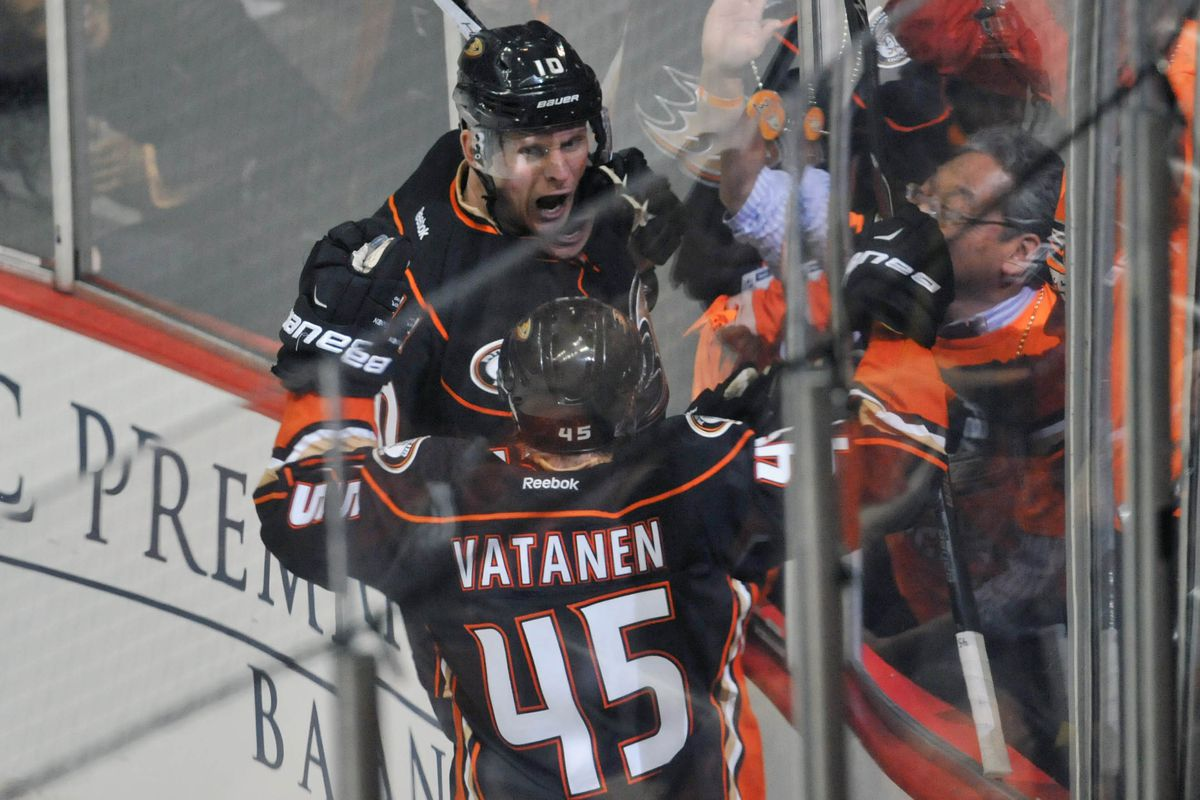 Corey Perry celebrates with Sami Vatanen after scoring early in the third period.