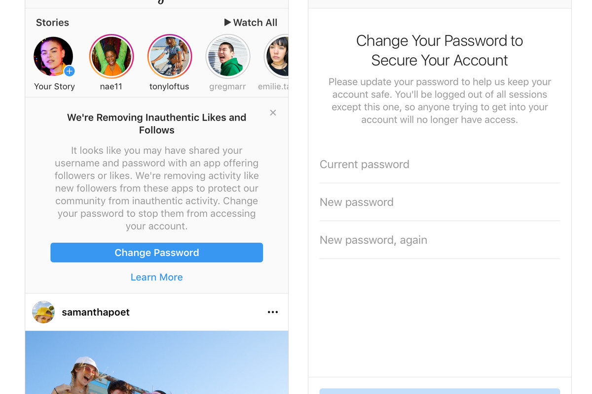 remove instagram account from app