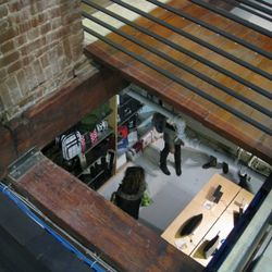 Looking down below from the first floor.