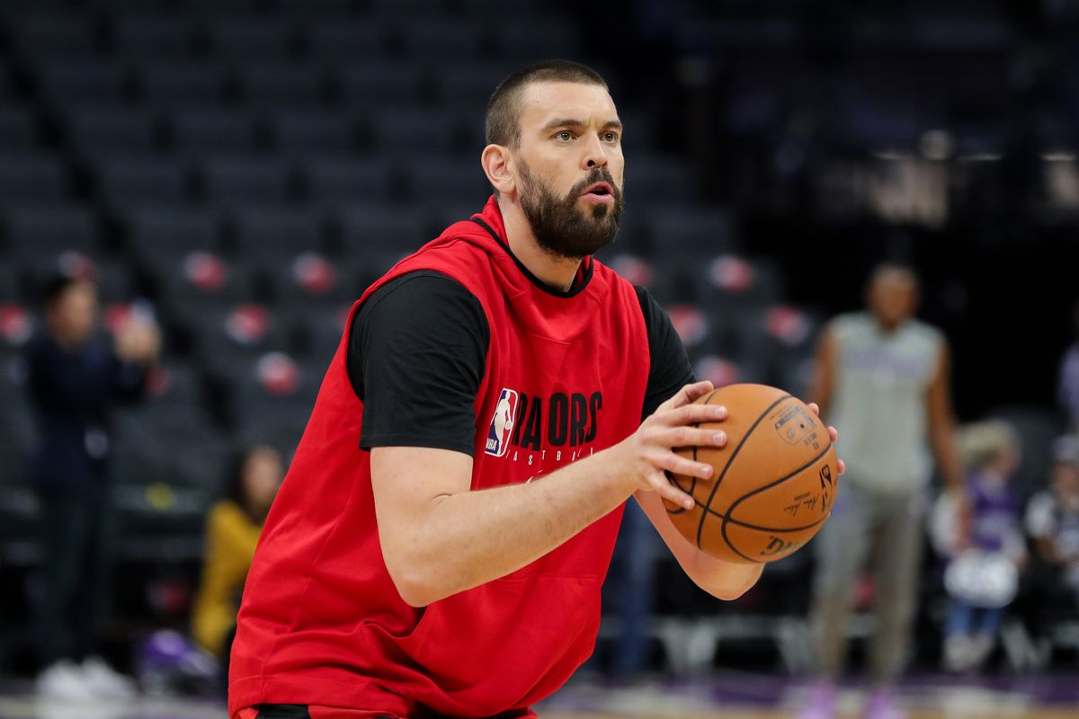 Toronto Raptors center Marc Gasol warms up before the game against the Sacramento Kings at Golden 1 Center.