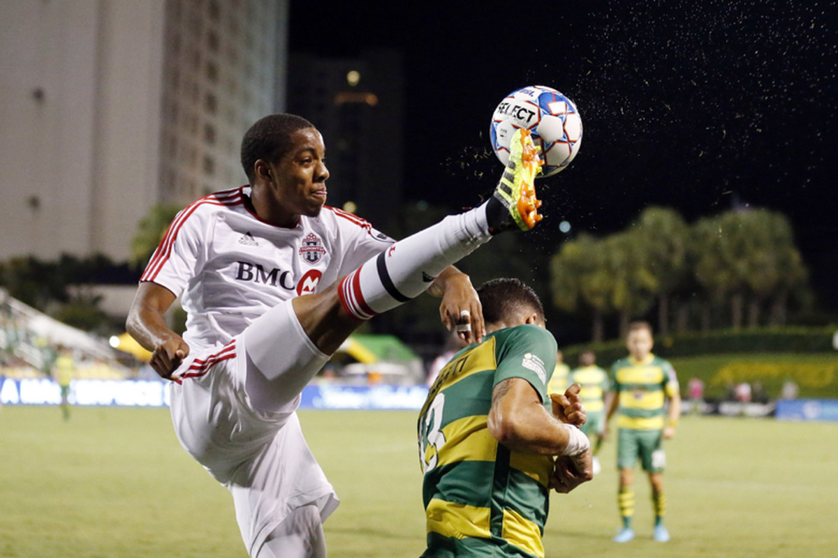 USL Photo - Toronto FC II's Dante Campbell stretches to bring down a ball against the Tampa Bay Rowdies on Independence Day