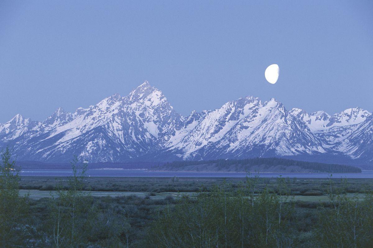 The moon over the Teton Range, Wyoming