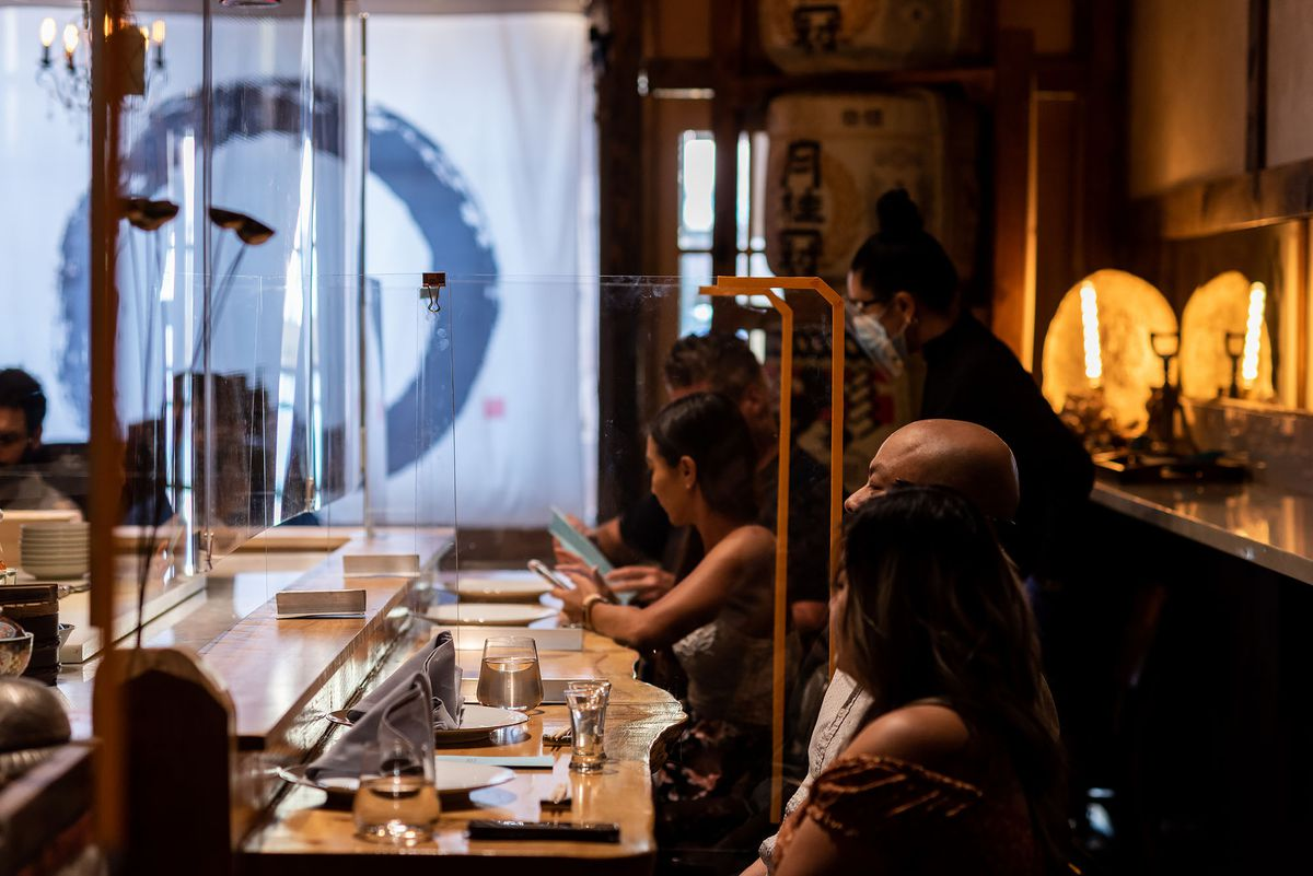 Guests sitting at OMG restaurant in Santa Ana