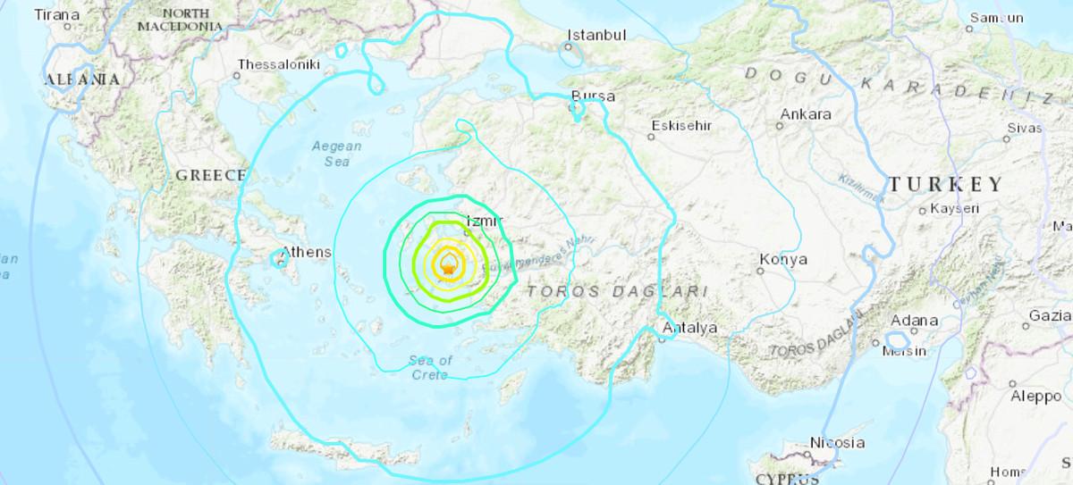 A 7.0 magnitude earthquake strikes near Turkey and Greece.
