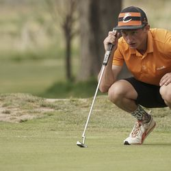 Casey Reck, Valley, lines up a putt during the Utah Section PGA Spring Individual Championship in Rose Park Golf Course in Rose Park on Thursday, June 4, 2020.