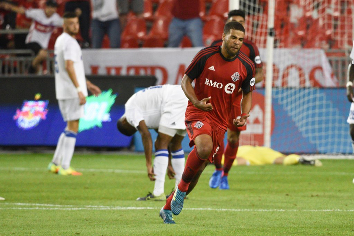 USL Photo - TFC II's Hamilton celebrates half of his brace on Wednesday night at BMO Field against the Charlotte Independence