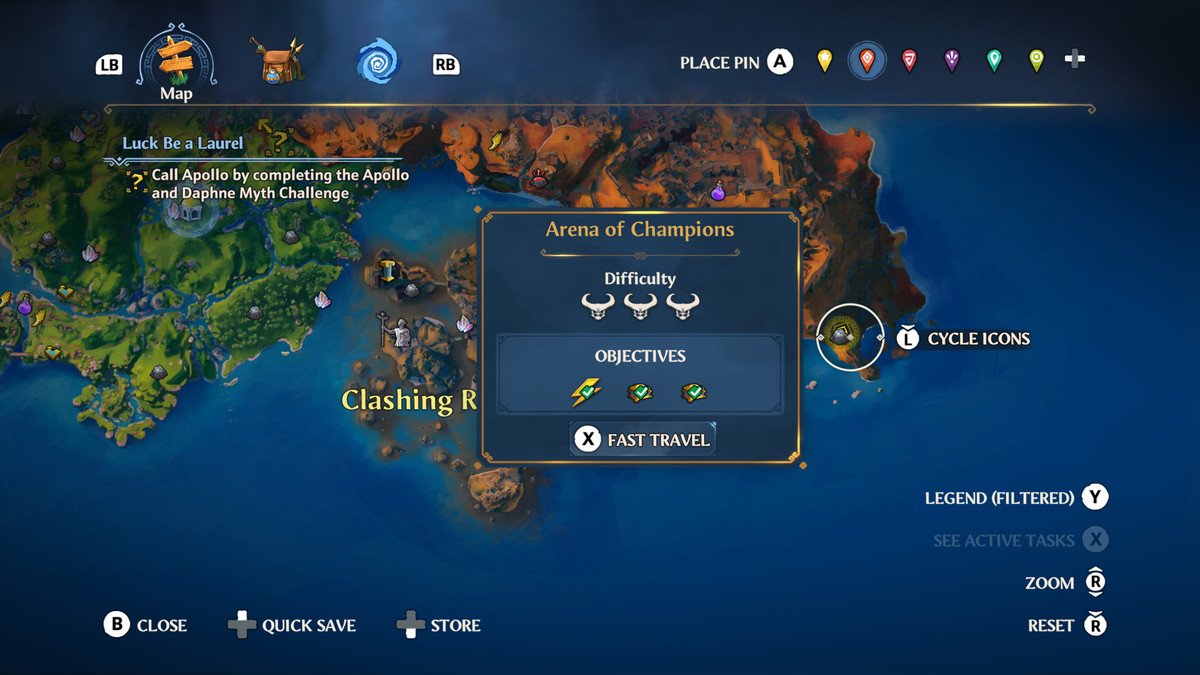 The map location of the Arena of Champions in Immortals Fenyx Rising