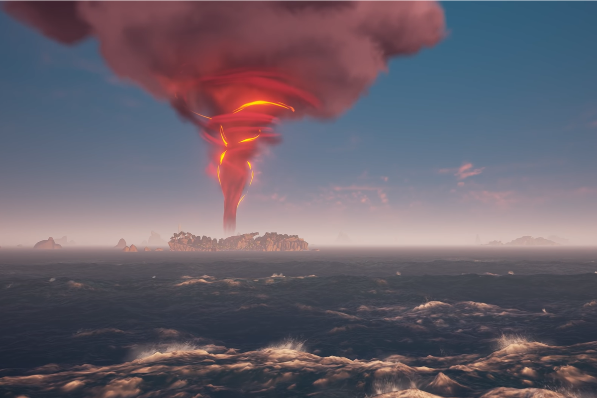 Sea of Thieves - an Ashen Wind tornado on the Sea of Thieves