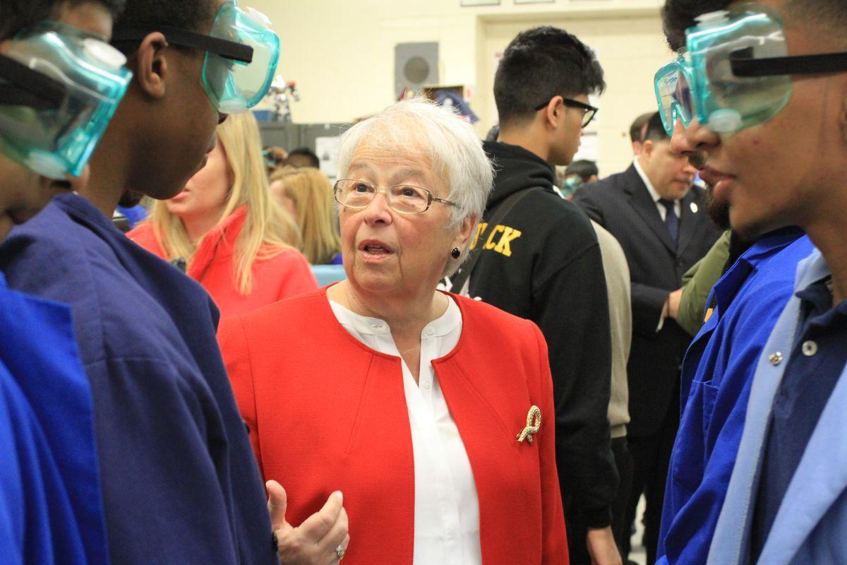 Chancellor Carmen Fariña at Thomas A. Edison Career and Technical Education High School in Queens.