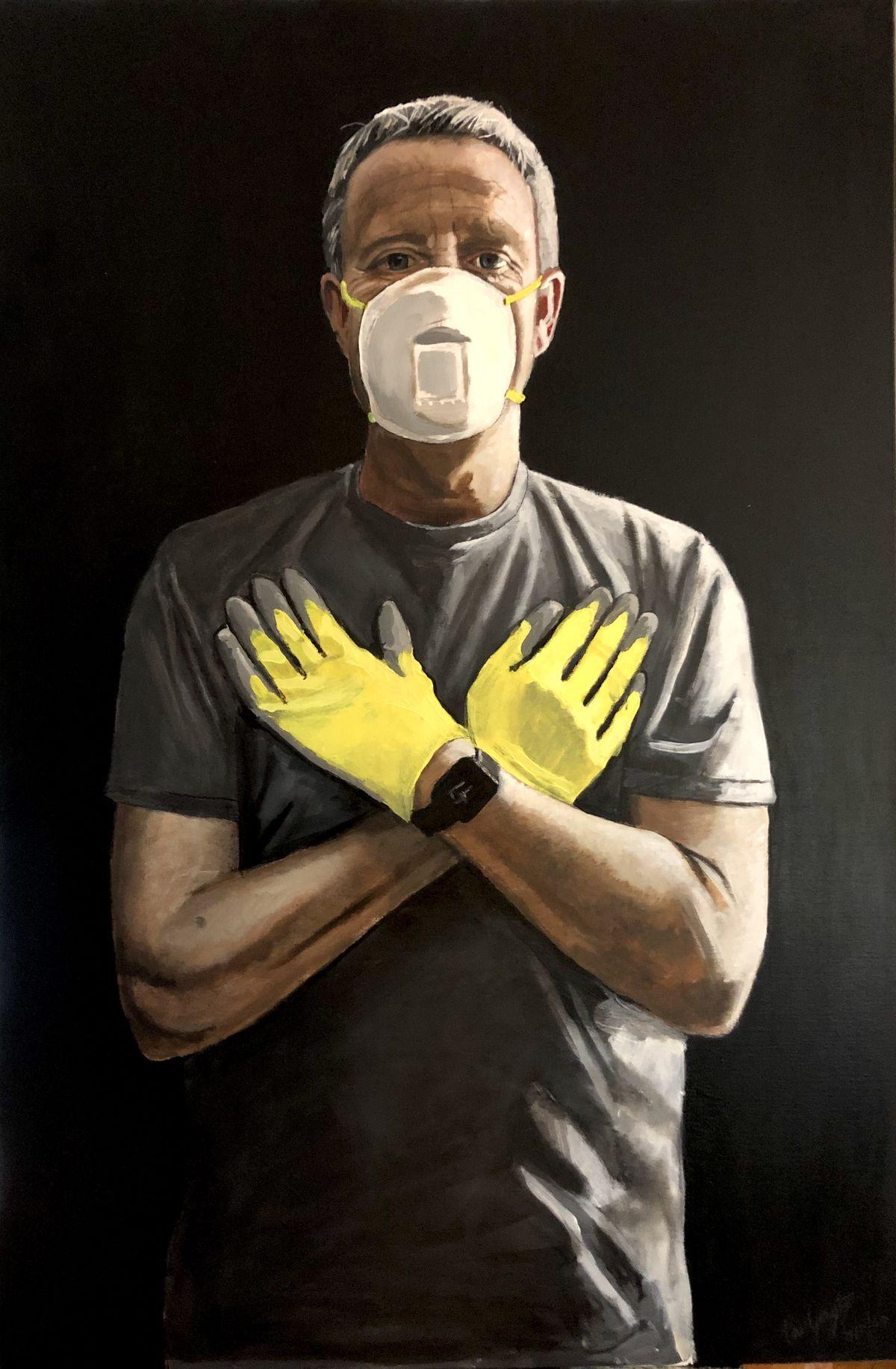 """Masked man,"" a self-portrait by artist Phil Gayter."
