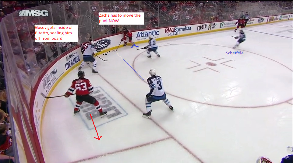 Part 4: Zacha tries to move the puck back into ther corner