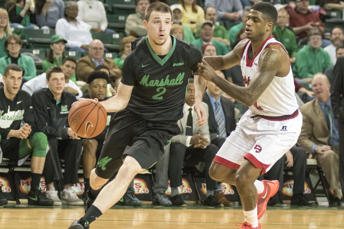 Stevie Browning (2) drives to the basket in Marshall's win over WKU.
