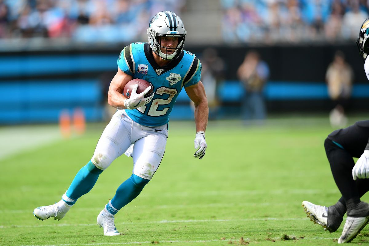 Christian McCaffrey of the Carolina Panthers during the second half of their game against the Jacksonville Jaguars at Bank of America Stadium on October 06, 2019 in Charlotte, North Carolina.