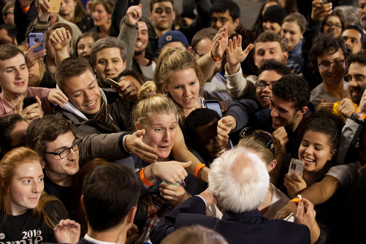 Democratic presidential candidate Sen. Bernie Sanders (I-VT) shakes hands with supporters after a rally on February 22, 2016, at the University of Massachusetts in Amherst.