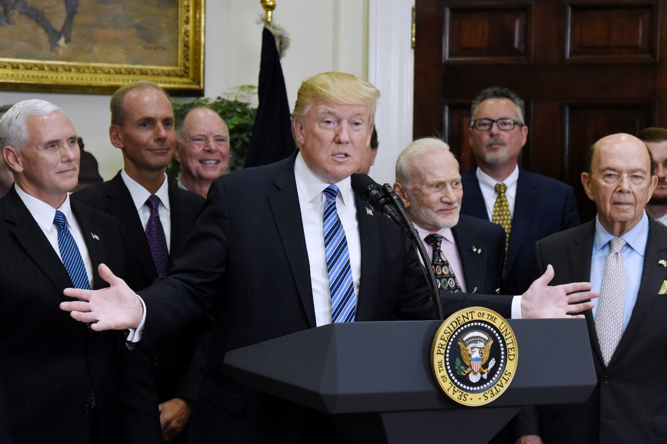 trump directs dod to establish a space force in a surprise announcement today