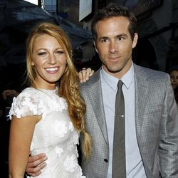 """FILE - This June 15, 2011 file photo shows actors Blake Lively, left, and Ryan Reynolds at the premiere of """"Green Lantern"""" in Los Angeles. Reynolds wed Blake Lively in Mount Pleasant, S.C.,  Sunday, Sept. 9, 2012, at Boone Hall Plantation, according to a person familiar with the ceremony who requested anonymity because they were not authorized to speak on the matter. While it's Lively's first marriage, Reynolds was previously married to Scarlett Johansson. Their divorce was finalized last summer after three years of marriage. Lively and Reynolds both starred in last year's """"Green Lantern."""""""
