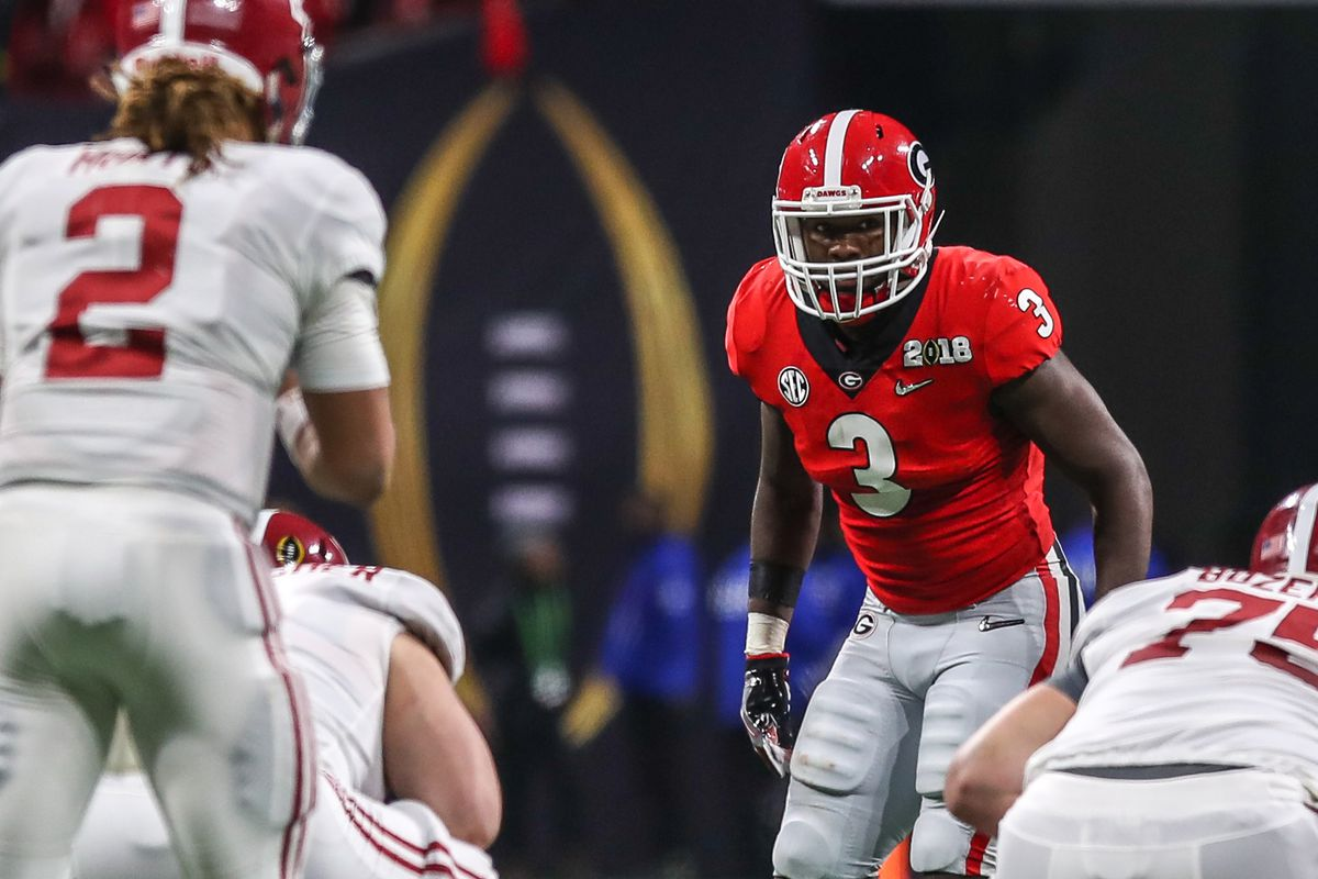 ATLANTA, GA:  Georgia Bulldogs linebacker Roquan Smith (3) lines up before a play against the Alabama Crimson Tide offense during the 2017-2018 College Football Playoff National Championship Game at the Mercedes-Benz Stadium.