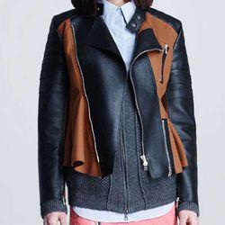 "Motorcycle peplum jacket, $550 via <a href=""http://www.neimanmarcus.com/31-Phillip-Lim-Motorcycle-Peplum-Jacket-Cinnamon-Black/prod158150223/p.prod""> Nieman Marcus </a>"