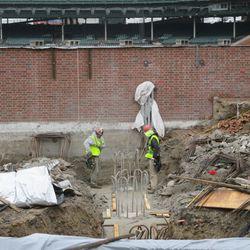 Closeup view of digging near the left-field corner