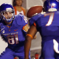 Dallas Burroughs of the Boise State Broncos can't pull in a pass during NCAA football in Boise, Thursday, Sept. 20, 2012.