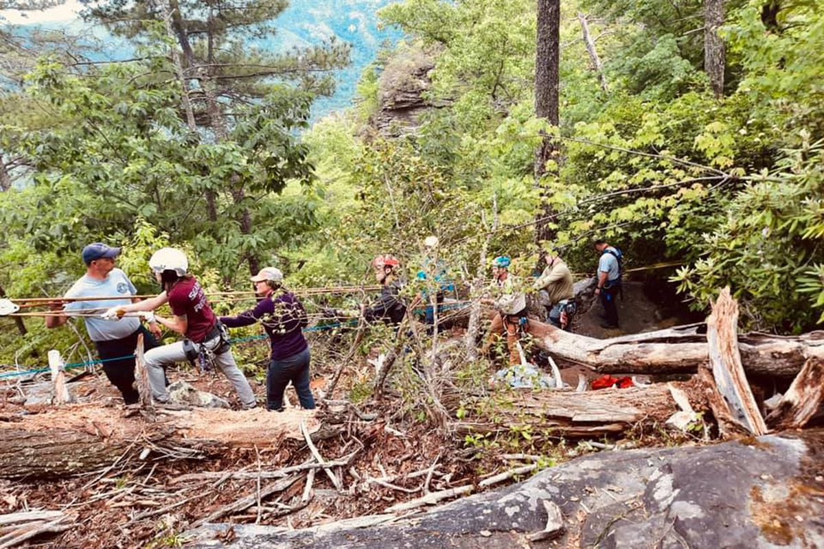 Rescue workers in Linville Gorge in North Carolina on Thursday, June 3 are shown responding to a report of a hiker falling. They eventually discovered that Michael Ryva of Forest Park did not survive the fall.