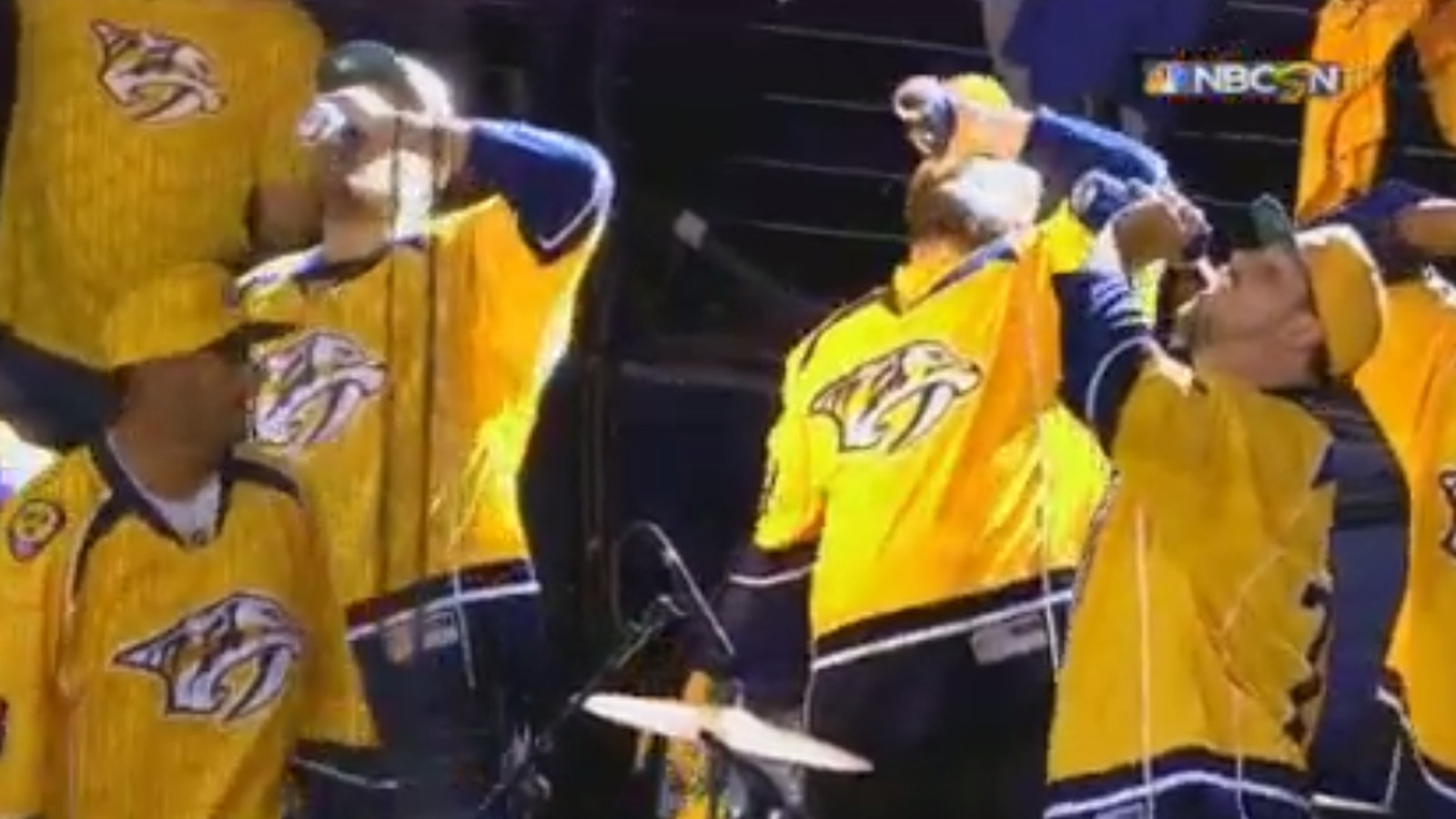 Titans linemen chug beers to pump up crowd at Predators ...