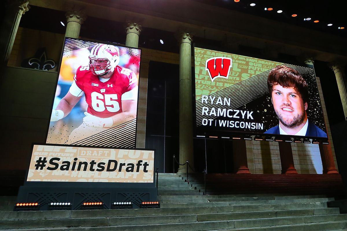 PHILADELPHIA, PA:  The New Orleans Saints selected Ryan Ramczyk, offensive tackle from Wisconsin, with the 32nd pick at the 2017 NFL Draft on April 27, 2017.