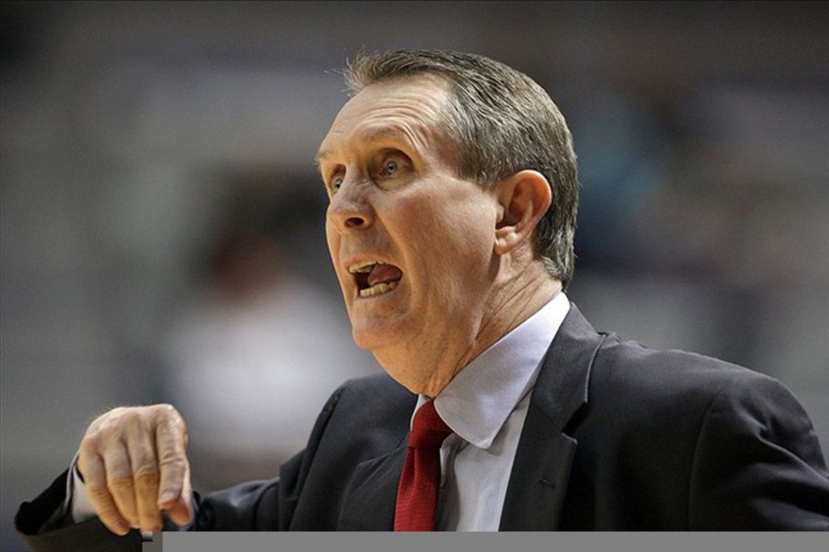 March 03, 2012; Houston, TX, USA; Houston Cougars head coach James Dickey shouts at his players in the first half against the Rice Owls at Tudor Fieldhouse. Mandatory Credit: Troy Taormina-US PRESSWIRE