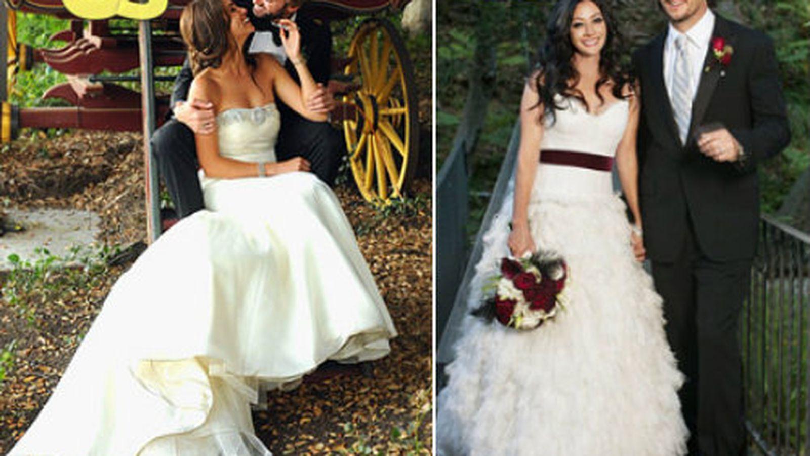 Battle of the wedding dresses shannen doherty vs nikki for Double sided tape for wedding dress