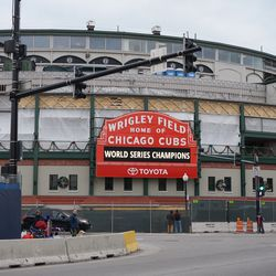 The front of the ballpark, at Clark and Addison
