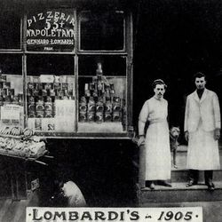 """The original Lombardi's, founded in 1905 by Gennaro Lombardi from Naples. <span class=""""credit""""> <a href=""""http://www.firstpizza.com/home.html/"""">[Lombardi's Original Pizza of New York, INC]</a></span>"""