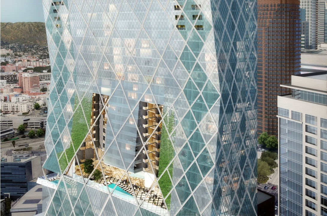 A rendering of the midsection of a high-rise with a view of its partially open atrium area with plants and a pool.