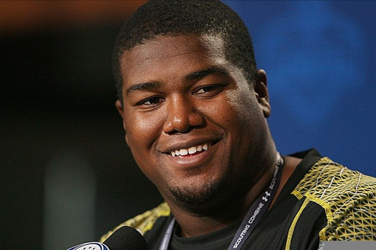 Feb 23, 2012; Indianapolis, IN, USA; Baylor Bears offensive lineman Philip Blake speaks at a press conference during the NFL Combine at Lucas Oil Stadium. Mandatory Credit: Brian Spurlock-US PRESSWIRE