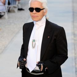 Karl Lagerfeld during the Chanel Collection Croisiere Show 2011-12 at the Hotel du Cap on May 9, 2011 in Cap d'Antibes, France.