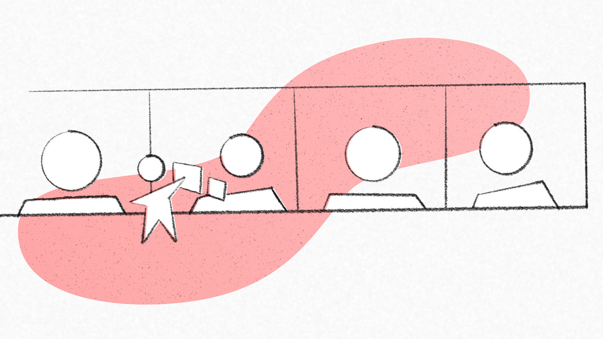 An illustration of a conference call with a stick figure holding up a piece of paper.
