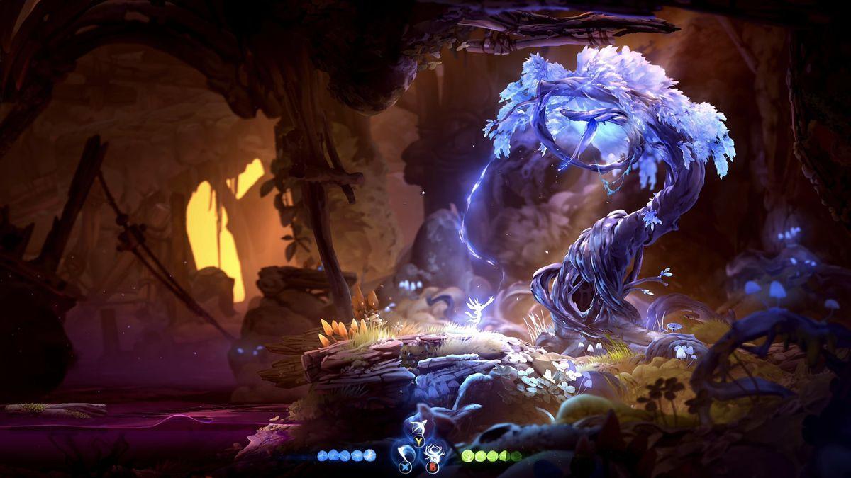 Ori gazes up at a glowing purple tree