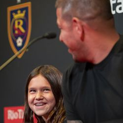 Benny Rose Rimando smiles as she and her dad, Real Salt Lake's goalkeeper Nick Rimando, look at each other at a press conference at Rio Tinto Stadium in Sandy on Friday, Sept. 27, 2019. Rimando will play his last home game on Sunday.