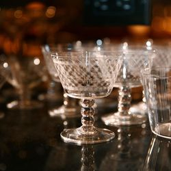Hand-etched Japanese cocktail glasses.
