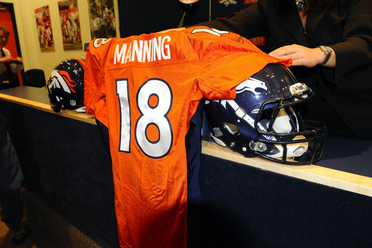 March 20 2012; Englewood, CO, USA; General view of the official jersey of Denver Broncos quarterback Peyton Manning (18) (not pictured) before the start of press conference at Broncos headquarters. Mandatory Credit: Ron Chenoy-US PRESSWIRE