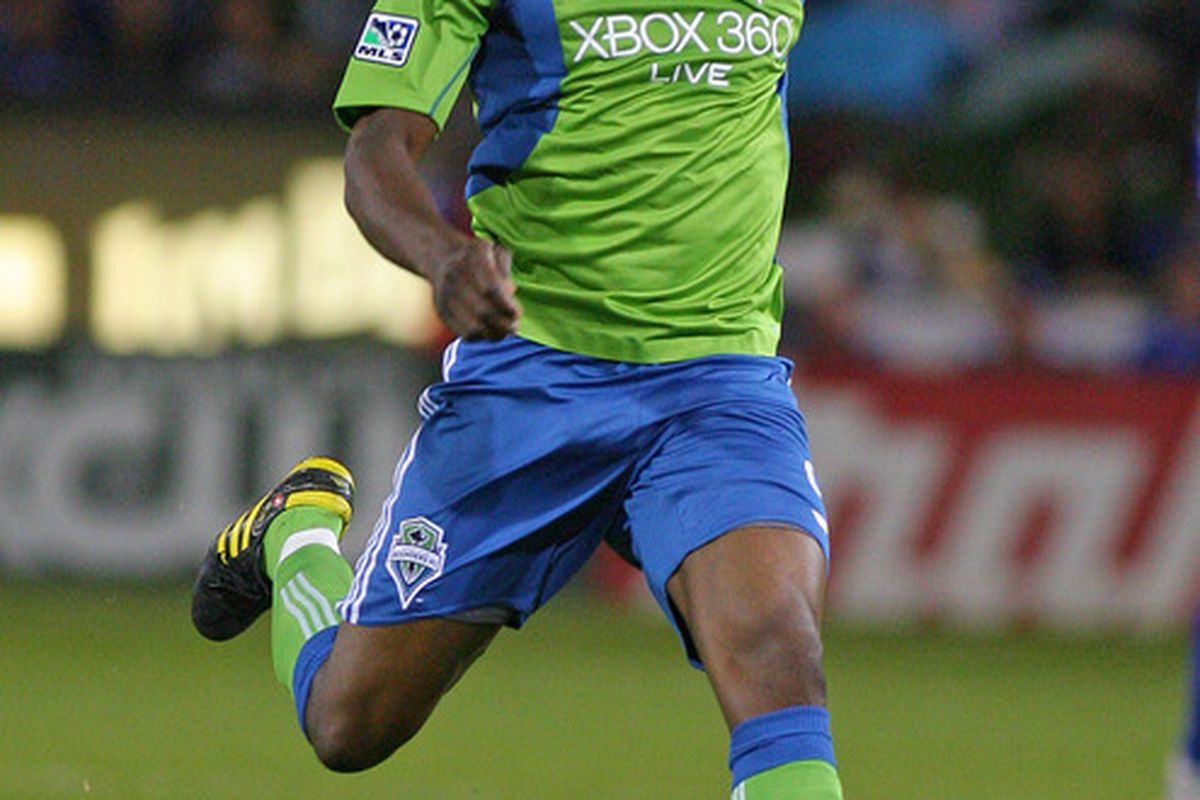 KANSAS CITY, KS -  Blaise Nkufo #9 of the Seattle Sounders controls the ball during a match against the Kansas City Wizards at Community America Ballpark in Kansas City, Kansas.  (Photo by Josh Umphrey/Getty Images)