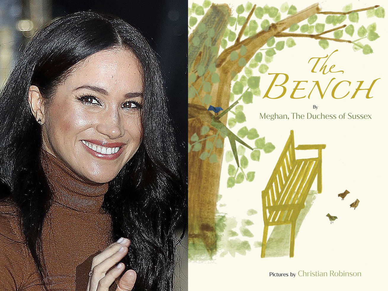 """Meghan, the Duchess of Sussex and and the cover art for her upcoming children's book """"The Bench,"""" with pictures by Christian Robinson."""
