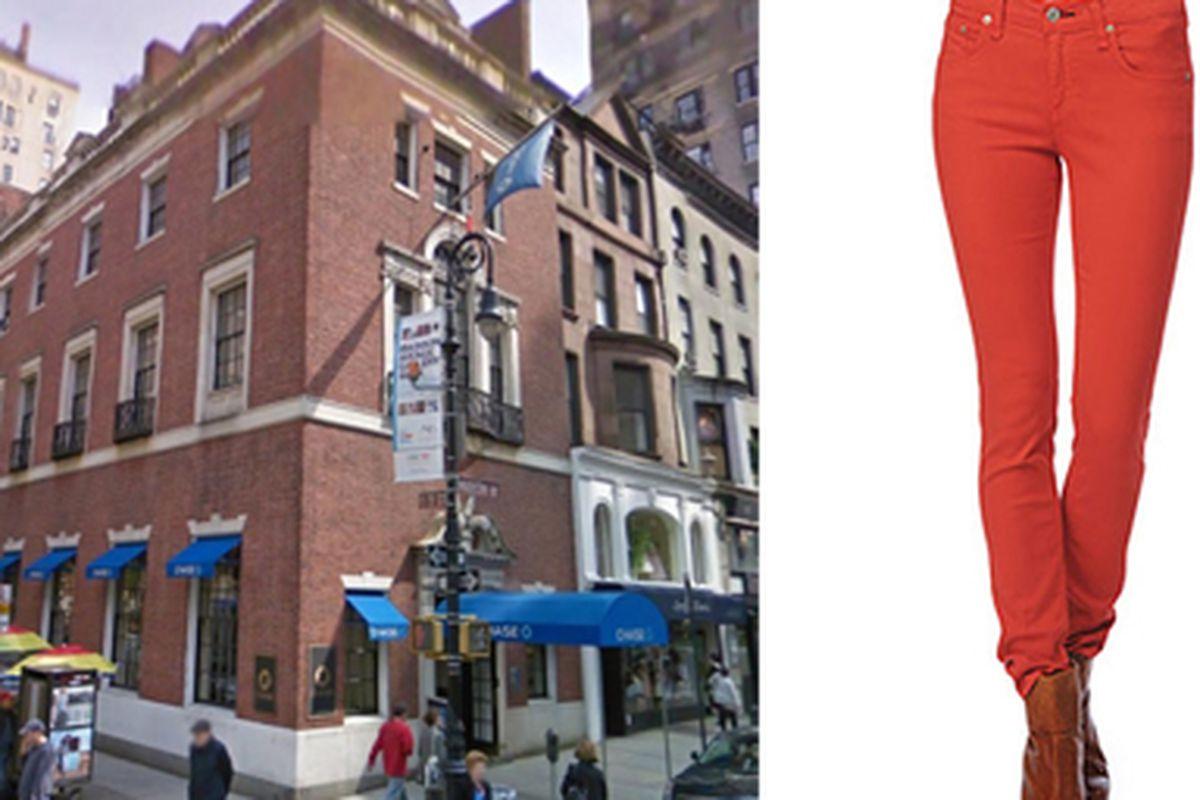 "909 Madison Avenue via <a href=""http://www.loopnet.com/Listing/17031052/909-Madison-Avenue-New-York-NY/"">Loopnet</a>, orange skinny jeans via <a href=""http://www.rag-bone.com/Skinny__Bright_Orange/pd/cl/5046/np/302/p/2465.html"">Rag &amp; Bone</a>"