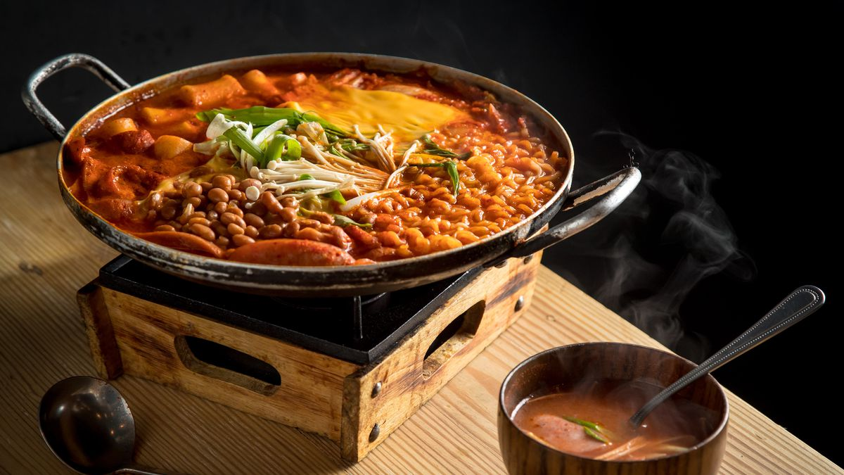 Budae jjigae stew on an induction burner
