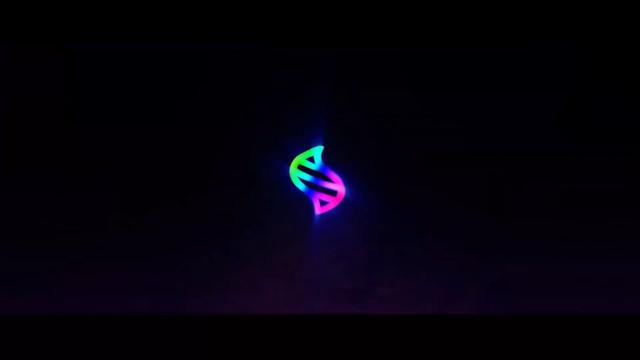 The mega evolution symbol on a black background