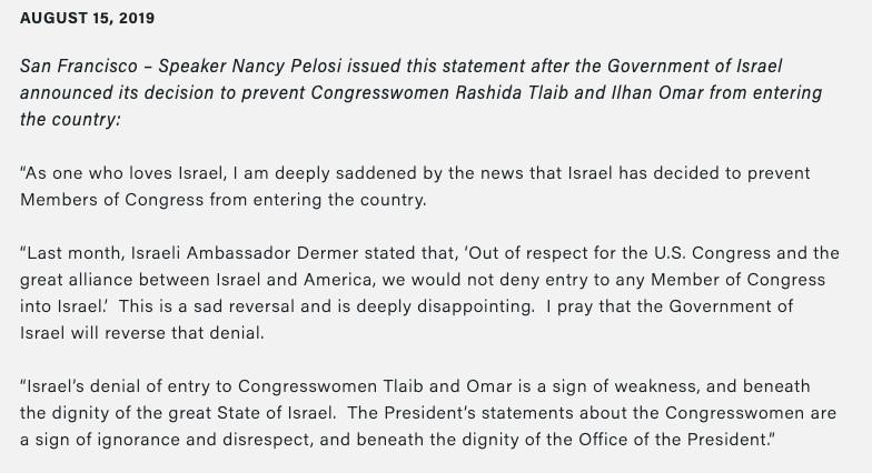 """A shameful, unprecedented move"": Democrats react to Israel blocking Omar and Tlaib's trip"