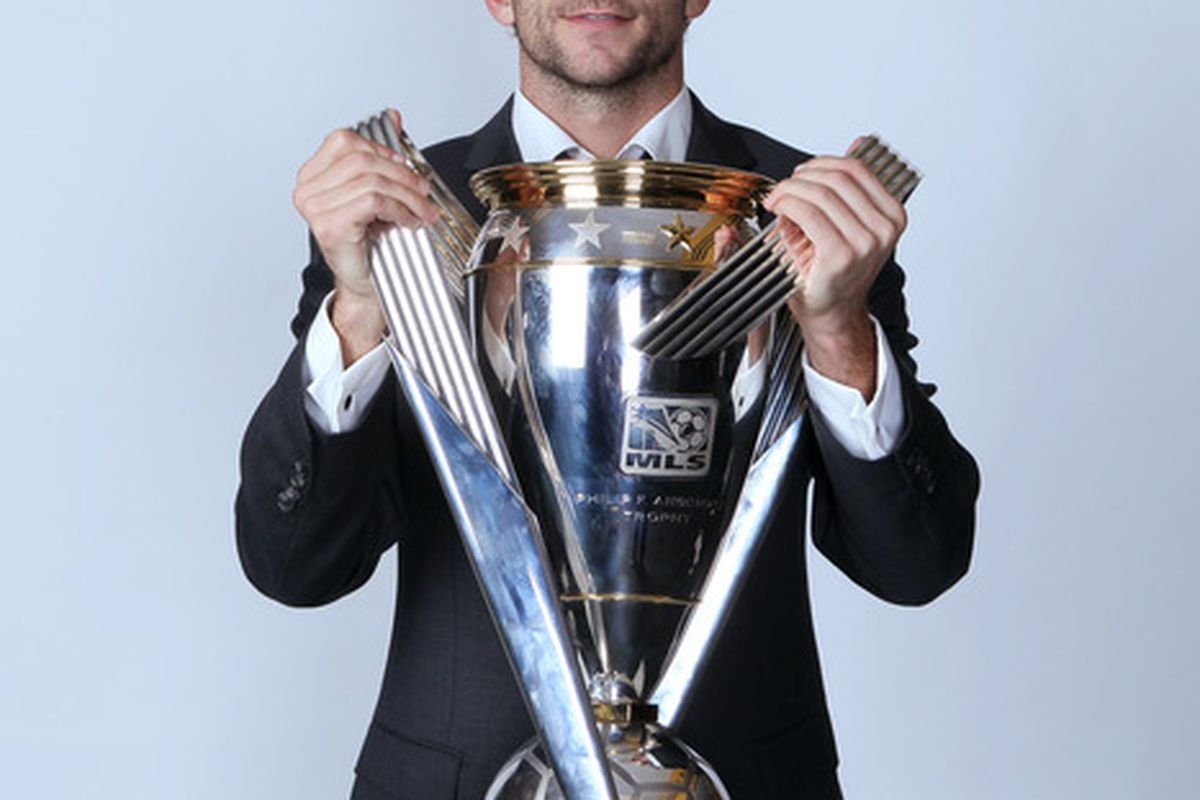 CARSON, CA - NOVEMBER 20:  Mike Magee #18 of the Los Angeles Galaxy poses for a portrait following the 2011 MLS Cup at The Home Depot Center on November 20, 2011 in Carson, California.  (Photo by Jeff Gross/Getty Images)