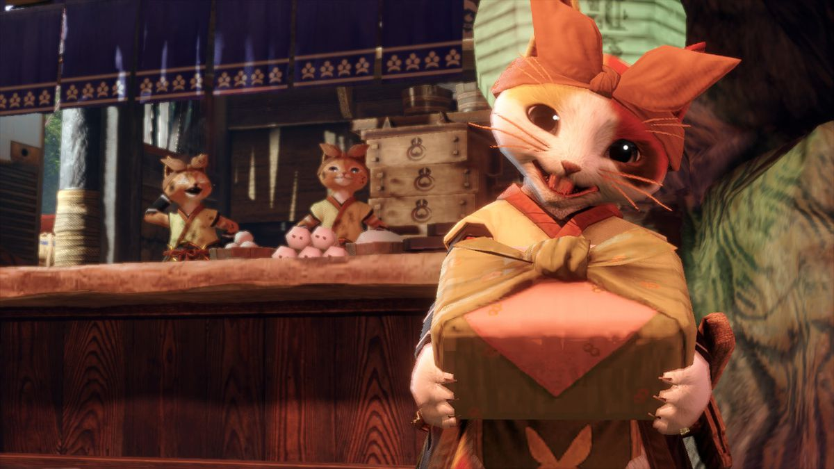 A palico is holding a box in Monster Hunter Rise